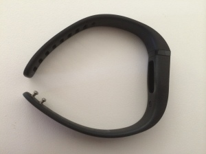 FitBit Flex wristband, showing clasp and where the tracker fits into the wristband.