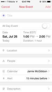 Screenshot of adding a new event in Sunrise Calendar