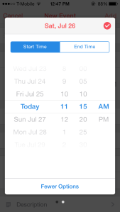 Setting an event's start time in Sunrise Calendar