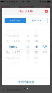 Setting an event's start time in Sunrise Calendar