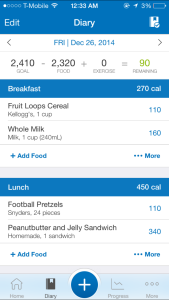 MyFitnessPal Meal Listing