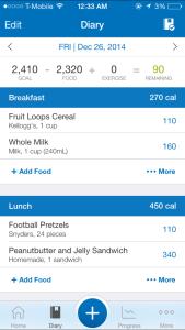 MyFitnessPal Meal Listing