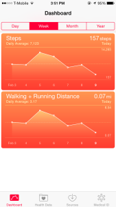 Health App Dashboard, displaying data on the number of steps taken and the distance traveled