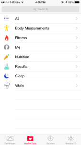 The Health Data section of Apple's Health app