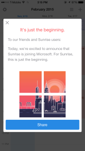 Screenshot of message from within the Sunrise Calendar iOS app, explaining that Sunrise is joining Microsoft